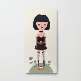 Girl in leather Metal Print