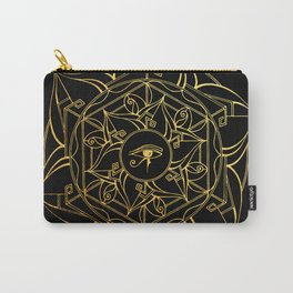Eye of Horus Mandala Black and Gold Carry-All Pouch
