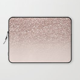 Modern sparkles rose gold ombre sequins glitter fancy girly blush pink Laptop Sleeve