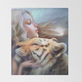 Angel of Tigers Throw Blanket