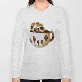 Hedgehog in a Cup Painted with Coffee Long Sleeve T-shirt