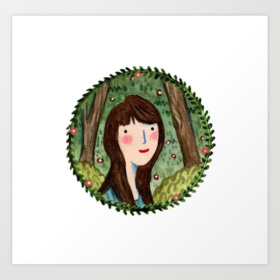 Self Portrait in Woodland Art Print