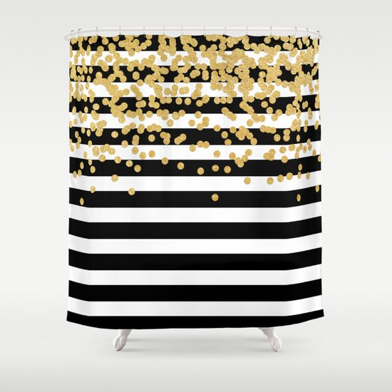 Bold black stripes with gold confetti shower curtain by Bold black and white striped curtains