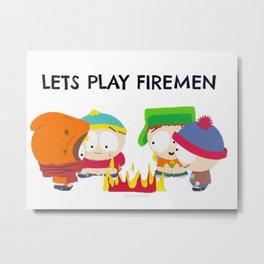 Playing Firemen Metal Print