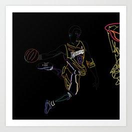 Neon Los Angles Basketball Legend Art Print