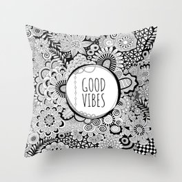 Good Vibes Doodle Throw Pillow