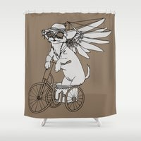 steam punk Shower Curtains featuring Steam Punk Chihuahua by Rebecca Pocai