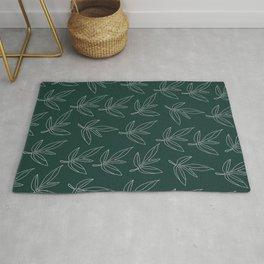 Minimal Line Art Leaf Pattern Forest Green Rug