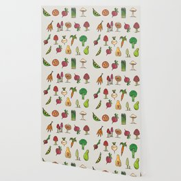 Vegetable Mushroom Fruit Pattern Wallpaper