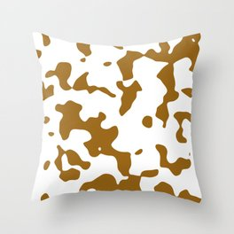 Large Spots - White and Golden Brown Throw Pillow