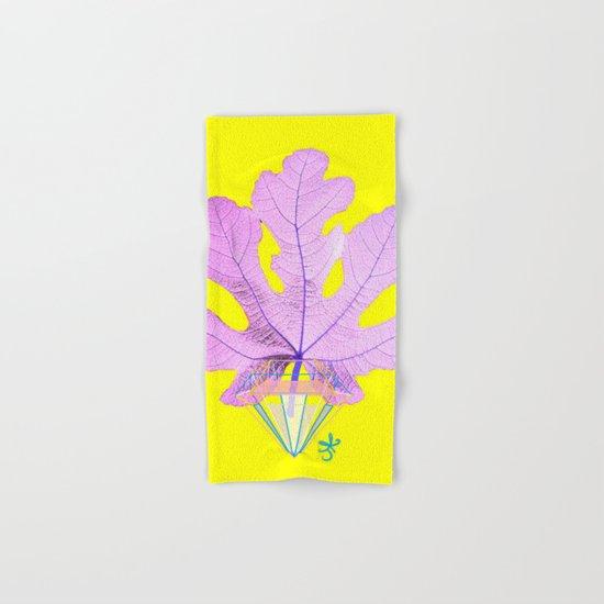 Fig Leaf Diamond Christmas Yellow Golden Hand & Bath Towel