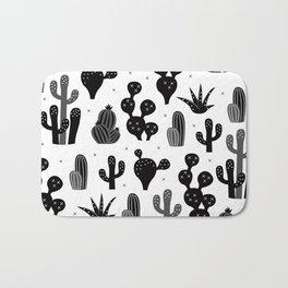 Cactus garden black and white Bath Mat