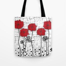 Poppies red n white background . Tote Bag