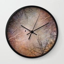 Looking Within - Dramatic sky with birds and trees photo art Wall Clock
