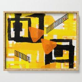 yellow orange white black abstract geometric digital painting Serving Tray