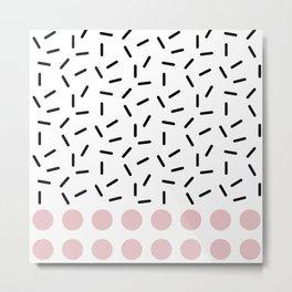 Black Sprinkles Pink Dots Metal Print