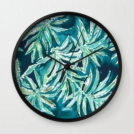 SANTA CRUZIN' Navy Tropical Palm Leaves Wall Clock