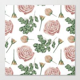 Flower Shop Roses Pattern White Canvas Print