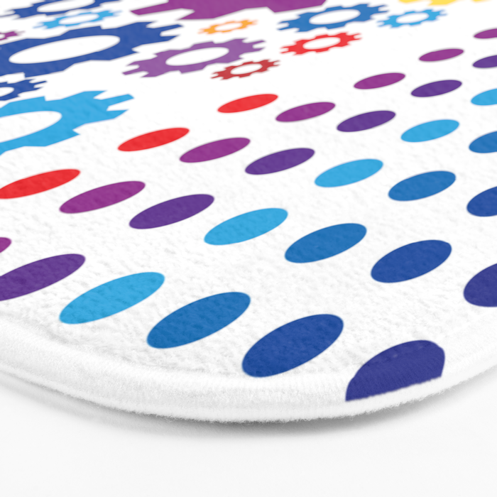 Playing with basic colors and round shapes Bath Mat