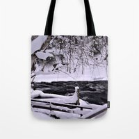 finland Tote Bags featuring Winter in Finland by Guna Andersone & Mario Raats - G&M Studi