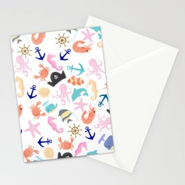 Cute trendy pink teal colorful marine nautical pattern Stationery Cards
