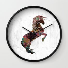 Abstract Dusty Rose Horse Wall Clock