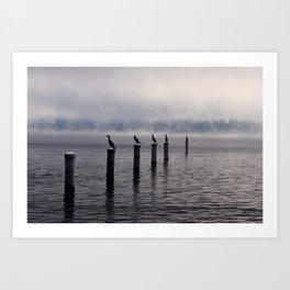 Foggy lake Art Print