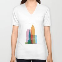 cleveland V-neck T-shirts featuring Coordinates Project: Cleveland by Cultivating Positivity