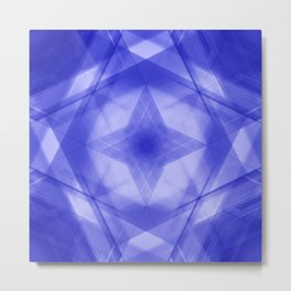 Vintage triangular strokes of intersecting sharp lines with indigo triangles and a star. Metal Print