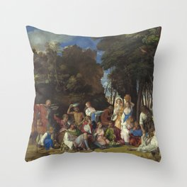 Giovanni Bellini and Titian The Feast of the Gods 1514 1529 Painting Throw Pillow