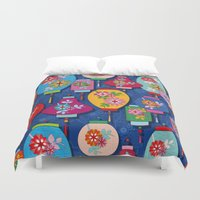 chinese Duvet Covers featuring Chinese lantern by Helene Michau