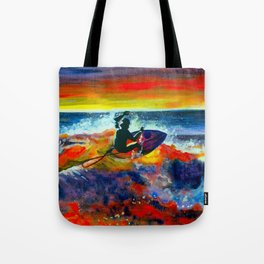 Surfing at sunset Tote Bag