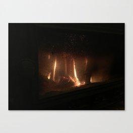 Burning wood Canvas Print