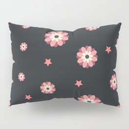 Elegance and cute pattern with pink flowers and stars Pillow Sham