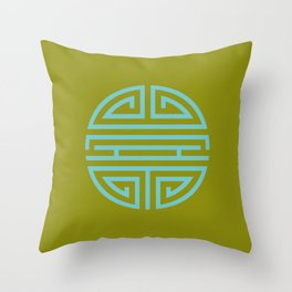 Shou Longevity In Green And Turquoise Throw Pillow