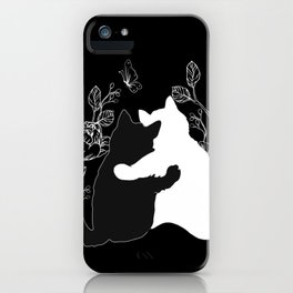 Black and white cats,floral decor iPhone Case