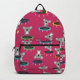 Koala Gymnasts On Trampolines Pattern On Pink Backpack