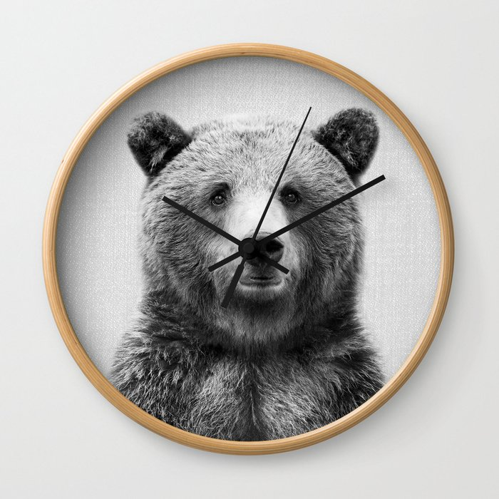 Grizzly Bear - Black & White Wall Clock