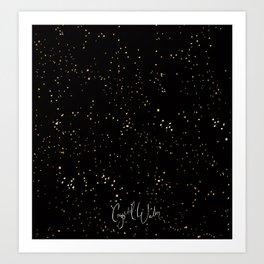 Sprinkly Gold Dots - on Black Art Print