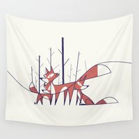 foxes Wall Tapestries featuring Foxes by Ale Giorgini