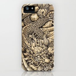 Japanese dragon and Koi fish iPhone Case