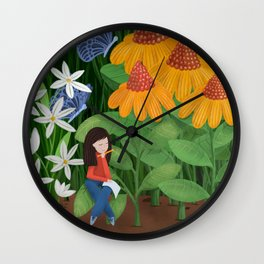 Drawing in he garden Wall Clock