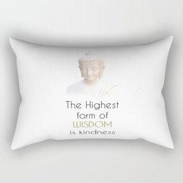 Inspirational Wisdom Quote With Buddha in White Robe Rectangular Pillow