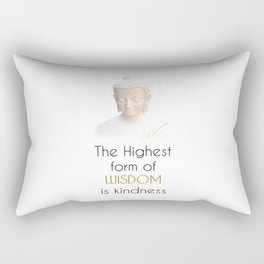 Inspirational Wisdom Quote With Buddha in White Robe Rectangular Pillow