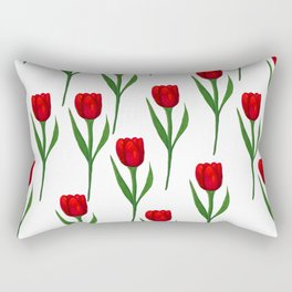 Red Tulip Pattern Rectangular Pillow