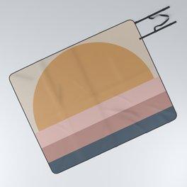 Minimal Retro Sunset - Neutral Picnic Blanket