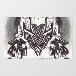 BLACK/WHITE MIRROR GIRL Rug