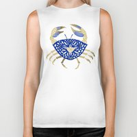 crab Biker Tanks featuring Crab – Navy & Gold by Cat Coquillette
