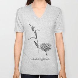Calendula Botanical Illustration Unisex V-Neck