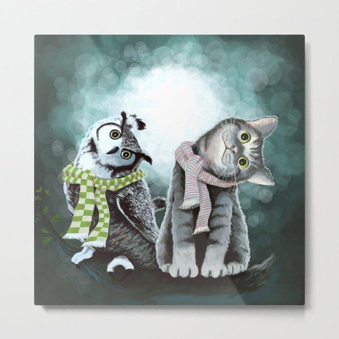 Cat and Owl Metal Print